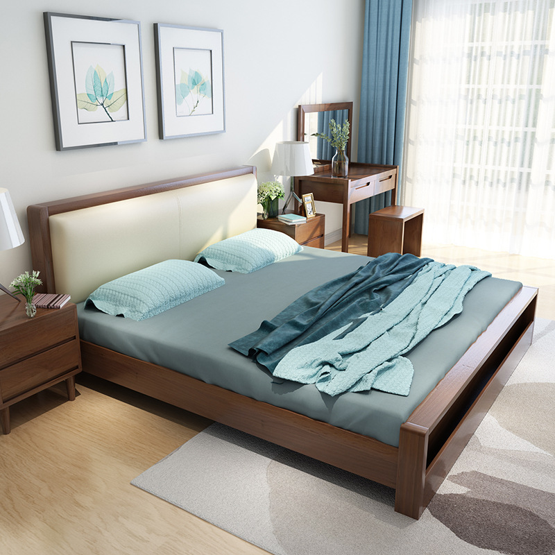 XINGHUIJIE Nordic solid wood bed modern simple master bedroom 1.8m double bed 1.5m soft bag soft rec