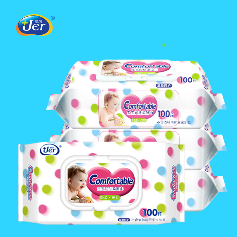 JER Jiaer wipes 100 puff baby hand and mouth wet wipes disposable non fragrant cleaning wet paper to