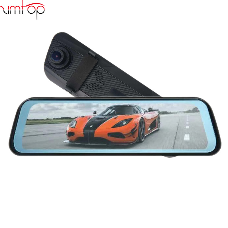 New 10 Inch Touch screen full screen rearview mirror streaming media dash cam HD dual lens electroni