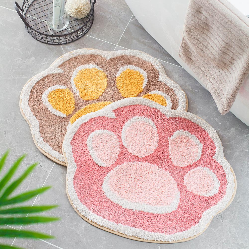 DAIDAIWU Dummy house cartoon cat's claw flocking carpet floor mats home bathroom door bathroom non-