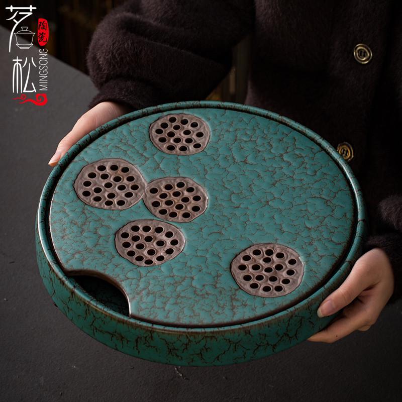 Ceramic tea plate small tea table household water storage tea plate Kung Fu tea set dry bubble plate