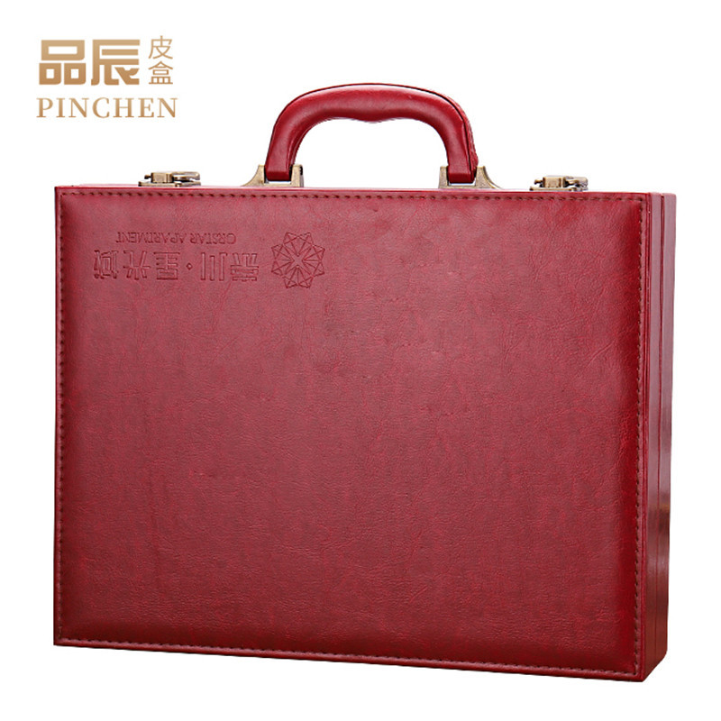 PINCHEN PU leather delivery box high grade portable property box red leather packing box key box lea