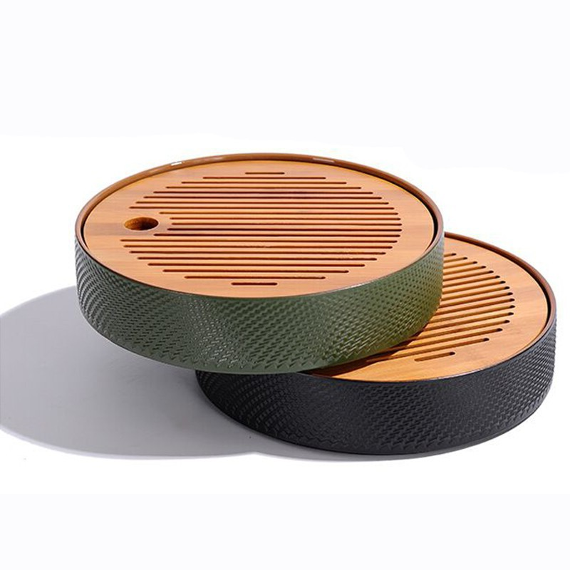Ceramic bamboo Japanese household tea tray round tea sea tray simple dry bubble tray floor stand Min
