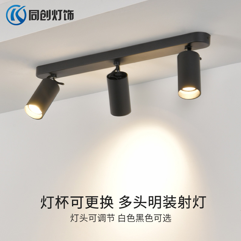 TONGCHUANG LED surface mounted spotlight Nordic extended panel three head spotlight cob double head