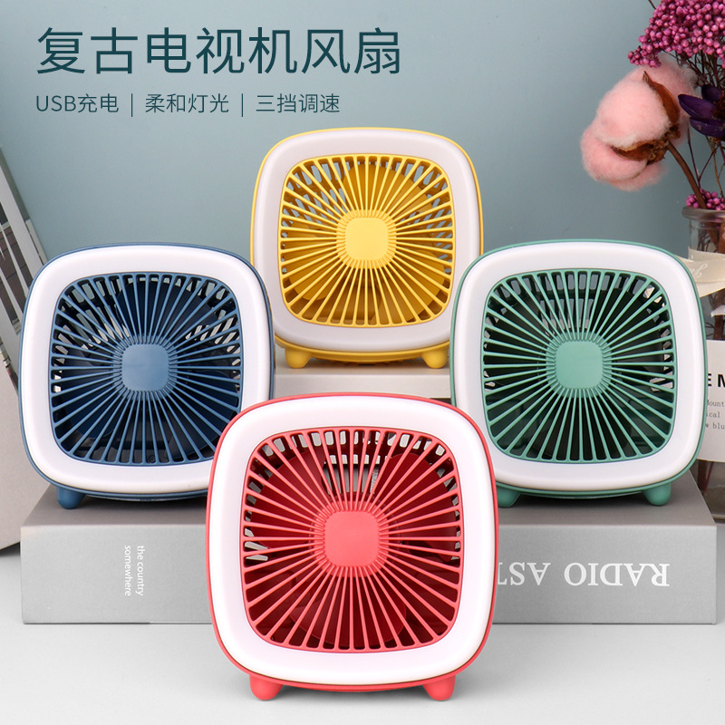 Desktop USB retro TV fan desktop fan charging fan TV fan