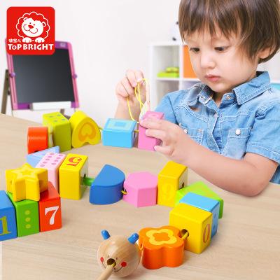 topbright Bộ đồ chơi rút gỗ Terbor sâu bướm em bé chuỗi hạt dây Kim cương đồ chơi trẻ em trẻ em được
