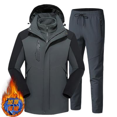 GONGBAN Quần áo leo núi Cặp đôi mùa đông 2020 cùng với áo khoác nhung nam và quần chống gió và chống