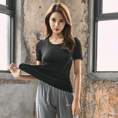PAIYIGE Áo thun mau khô Phong cách mới quần áo yoga khô nhanh áo thun nữ ngắn tay thể thao mùa hè áo