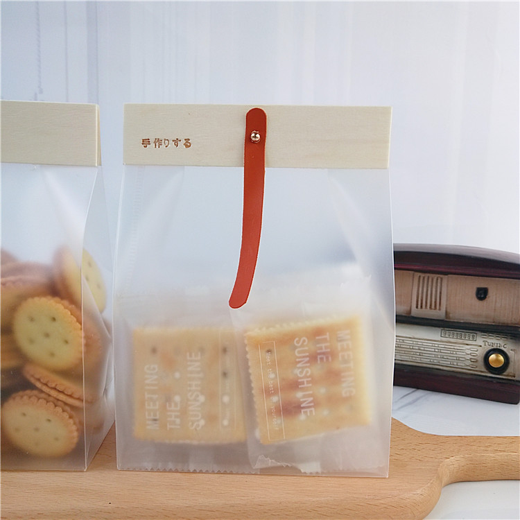 2020 new Japanese style wooden card head fenan snow crisp nougat packaging bag frosted self standing