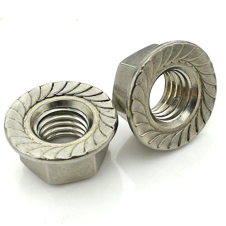FENGHENG Flange nut with teeth 201.304 stainless steel m4m6m8m10m12 flange nut with gasket
