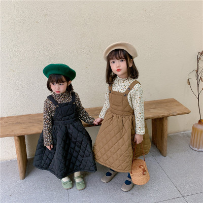 Đầm váy trẻ em Trẻ em váy mùa đông năm 2020 phiên bản hàn quốc của cô gái thêm dày váy dây cương