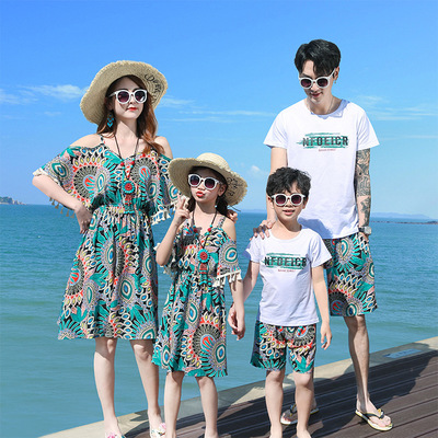 EJET Áo thun gia đình Cha mẹ mùa hè năm 2020 mới beach holiday ba người bốn gia đình với vai dài váy