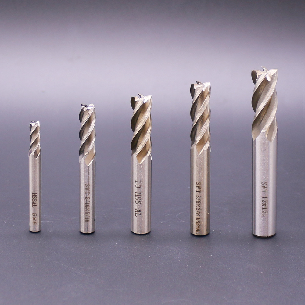 Tools English four edge superhard straight shank end mills with 4 teeth for metal working