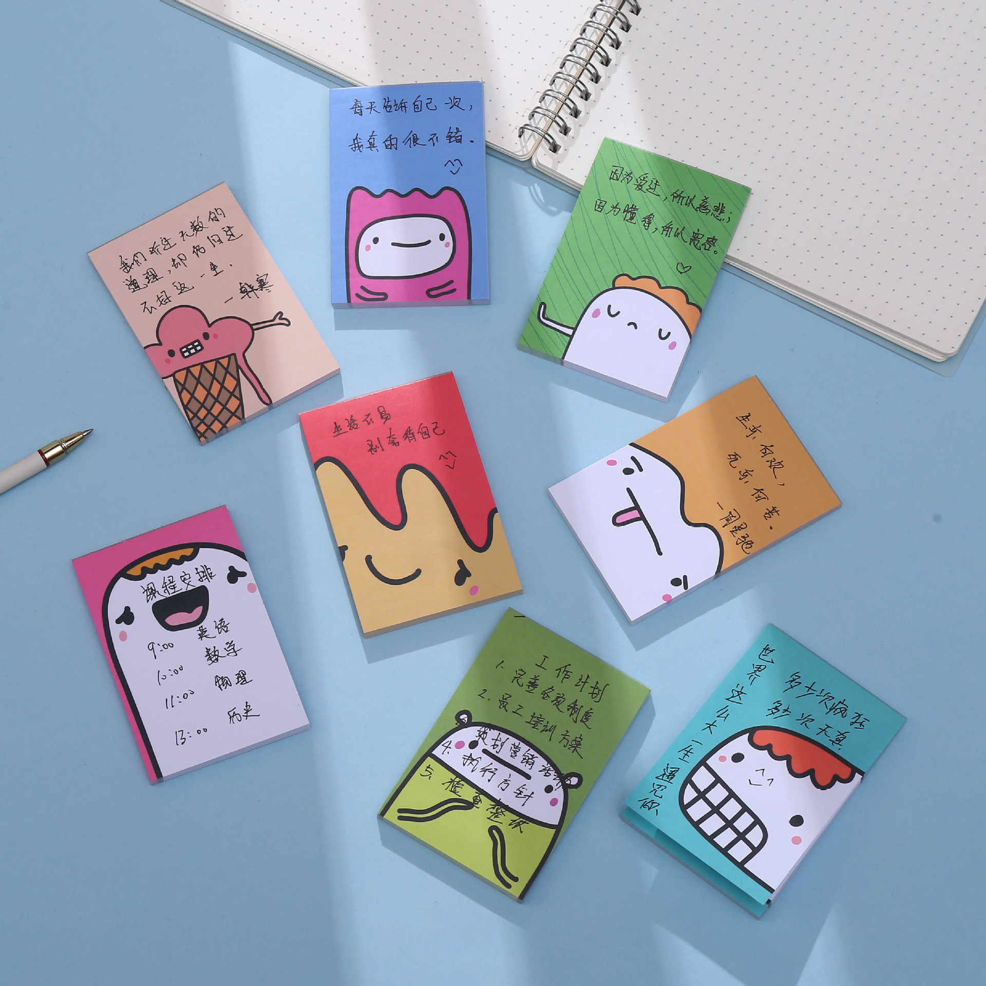 Win book cartoon 50 page Notepad wholesale creative cute memo note tear off student note book custom
