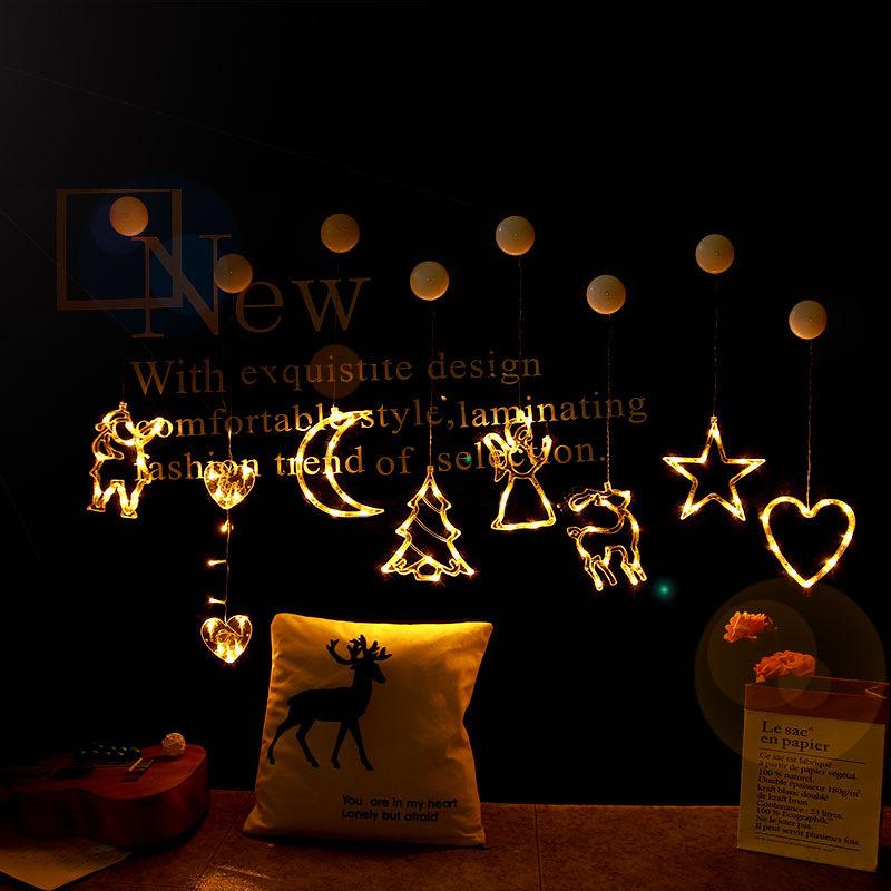 LED Christmas lights string sucker hanging lights color lights flashing Festival window room garden