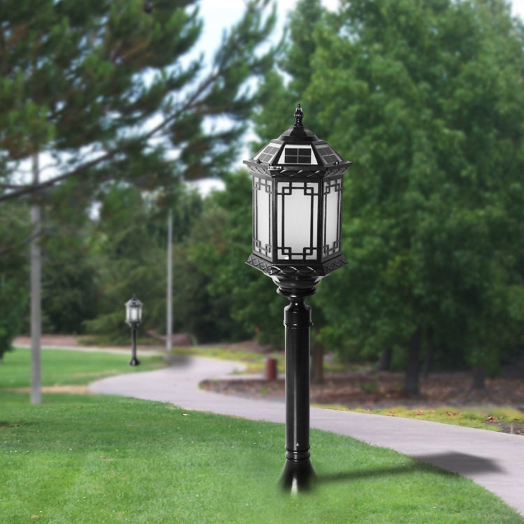 YUELAIYA New solar intelligent lawn lamp all aluminum Chinese garden lamp remote control solar lamp