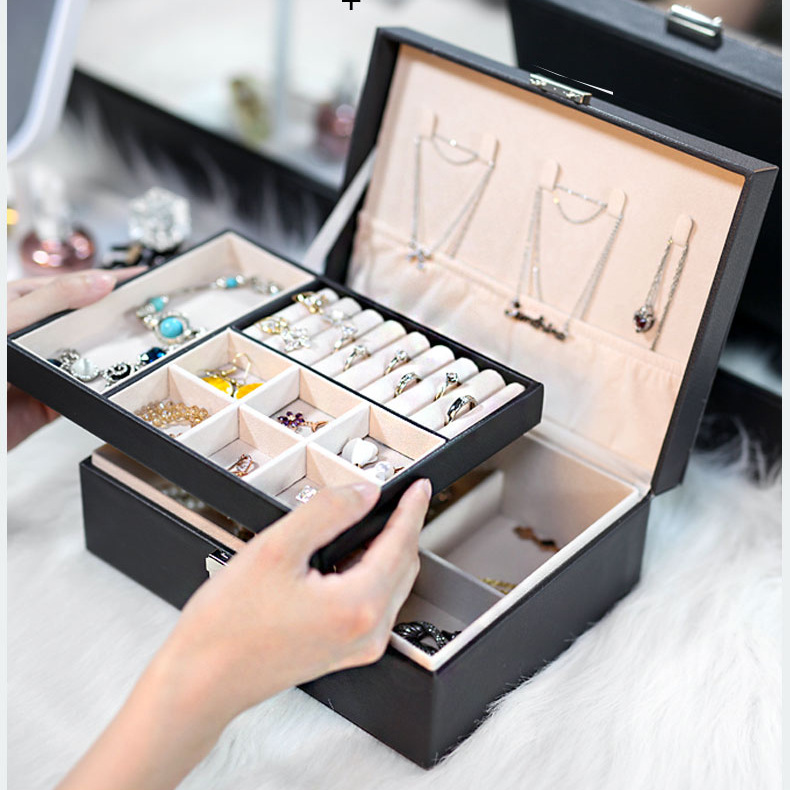 Double layer large capacity Pu jewelry box portable leather jewelry storage box Necklace Ring Watch