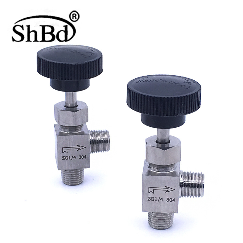 SHBD 304 316 stainless steel angle type needle valve stop valve dn10 external wire inside wire needl