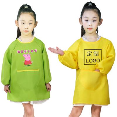 Áo khoác Trẻ em vẽ áo choàng dài trẻ em dài tay áo tạp dề được tùy chỉnh logo mẫu giáo viên mỹ thuật