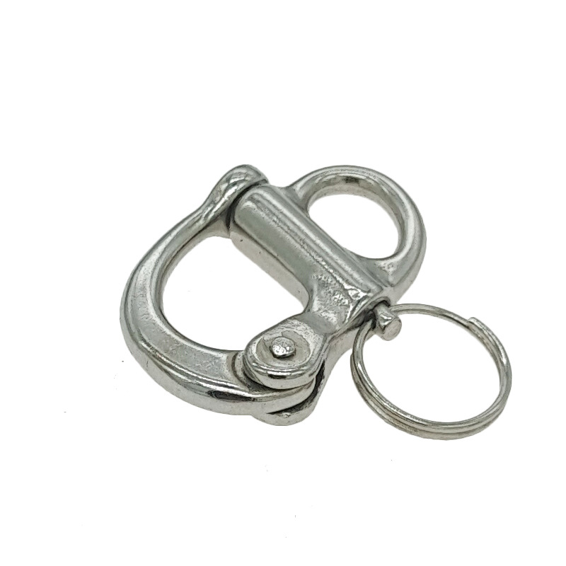 ZHENGHAO 316 stainless steel fixed spring shackle hand pull fast hanging shackle self-locking shackl
