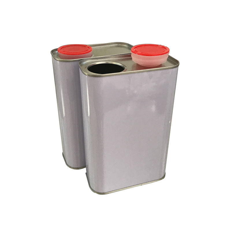 Ink screen printing metal packaging can 1L square tinplate chemical can square tin plastic cover