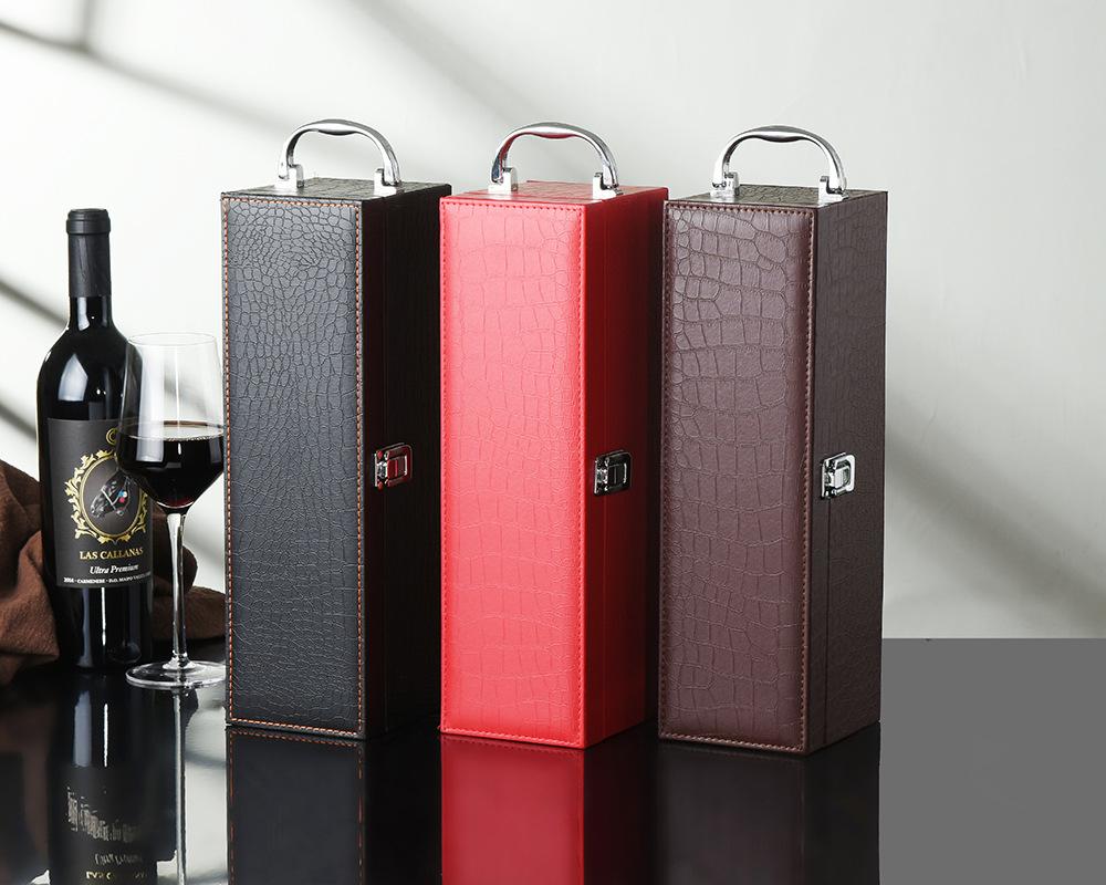 CM Classic single red wine box wine gift box red wine single leather box