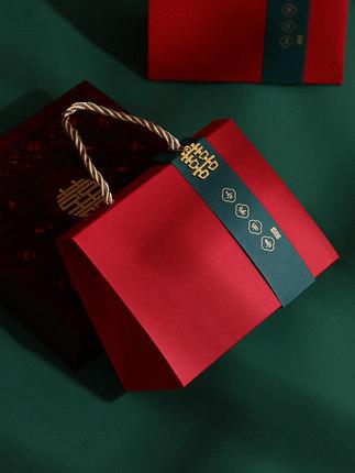 Hộp giấy bao bì  2020 hộp kẹo cưới mới hộp carton sáng tạo lưới màu đỏ Trung Quốc hộp bao bì hộp đựn