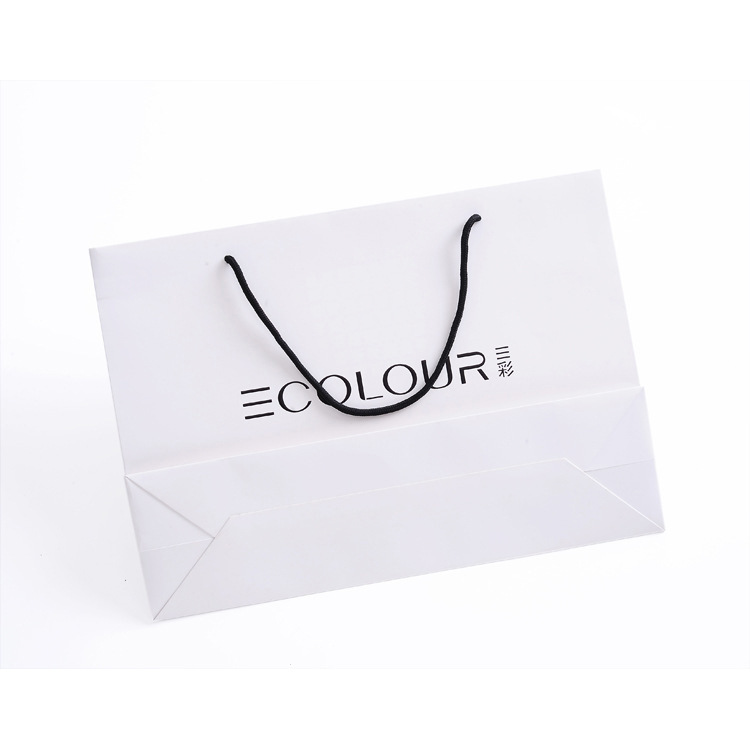 File paper handbag custom white cardboard gift bag clothing bag can be printed logo stamping process