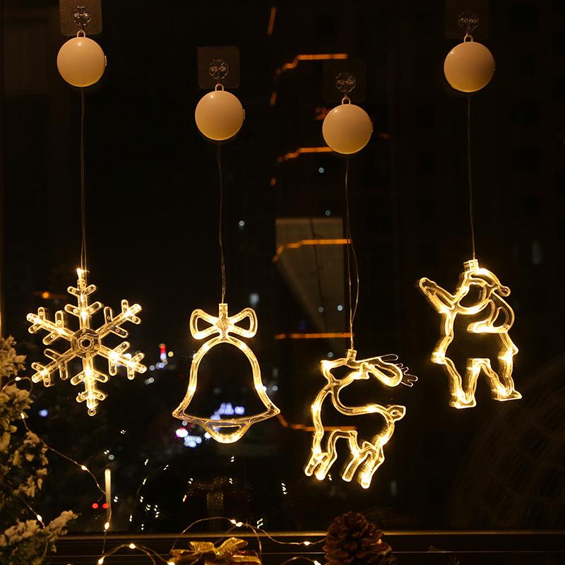 JUGUANGFU Christmas bell sucker lamp room window elk decorative lamp snowflake sucker lamp