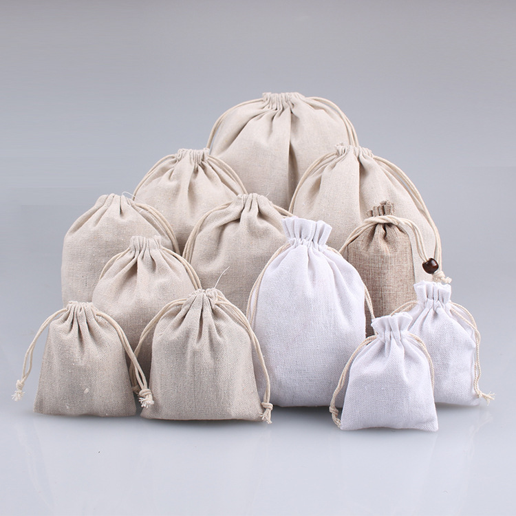 HONGHUI Simple simple white bundle pocket, Buddha bead bag, jewelry, stationery bag, string gift sto