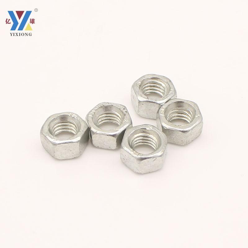 Yixiong white zinc plated natural color nut manufacturer hexagon nut nut m3m4m5m6m8m8m12-m24