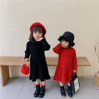 Đầm váy trẻ em Váy trẻ em năm 2020 mùa đông hàn quốc mới cô gái len váy trẻ em cơ sở đào đáy váy