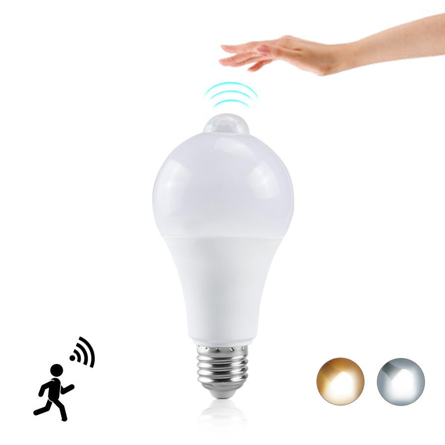 Led body sensing bulb e27b22 infrared LED bulb 12w15w18w20w wide pressure bulb lamp PIR