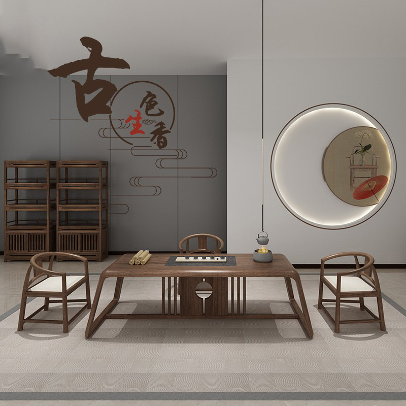 KEJIANG New Chinese style solid wood kungfu tea table and chair combination office reception, Zen te