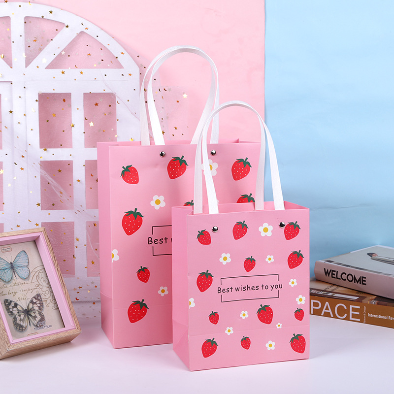 HUIJIE Fruit portable gift bag white card shopping clothing accessories silk towel tea bag