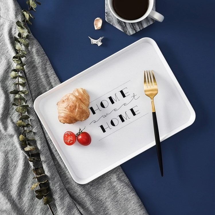 Plastic plate rectangular household Nordic personality simple bread breakfast plate cup plate Hotel