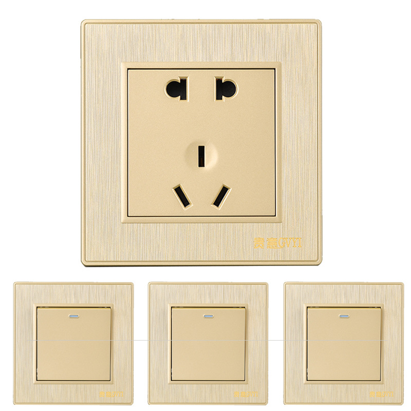 GVYI Five hole socket 86 type pulling household wall switch socket panel PC wire drawing hotel serie