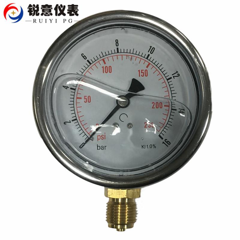 RUIYI YN100 shock proof pressure gauge pipeline pressure gauge 0-16bar water treatment instrument 23