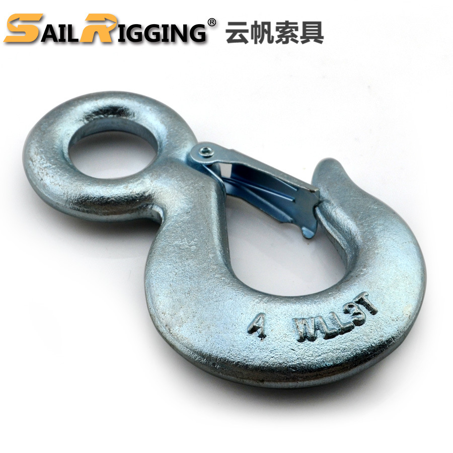 YUNFAN American style eye lifting hook alloy steel forged rigging hook chain high strength lifting h
