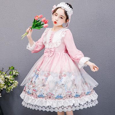 KAFEIBEI Đầm váy trẻ em Cô gái lolita trẻ em váy mùa thu/mùa đông năm 2020 quần áo dài tay áo lolita
