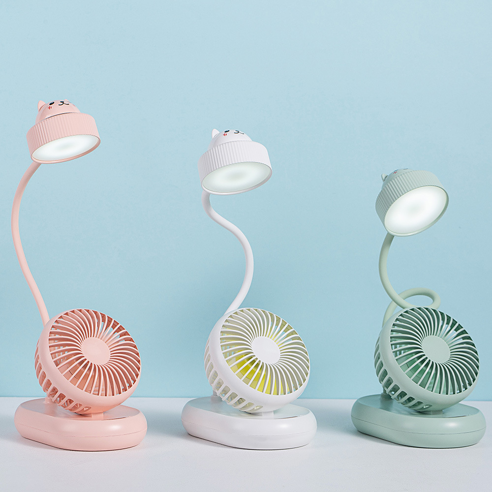 Summer fan desk lamp bendable large wind power usb bedroom pupils learn plug-in rechargeable bedroom