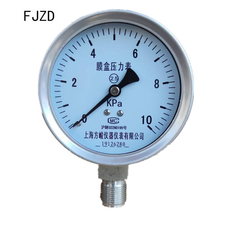 FJZD Shanghai Fangjun instrument ybe-100 capsule pressure gauge stainless steel gas meter wind press