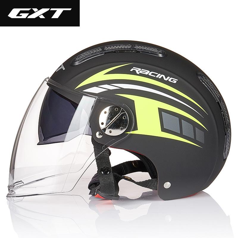 GXT electric motorcycle helmet female male summer half helmet double lens four season motorcycle hel