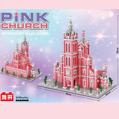 YAPIN Bộ đồ chơi rút gỗ Yalba 6900 hồng nhà thờ mô hình vi khoan lắp ráp các khối xây dựng dành cho