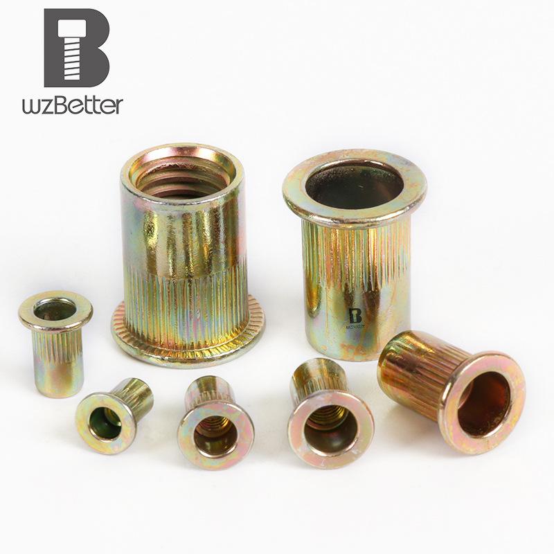 Baite color zinc plated flat head rivet nut flat head columnar rivet nut pull cap rivet nut m3-m12