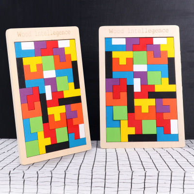 HUOYANWAWA Đồ chơi bằng gỗ Tetris puzzle children early education wooden toy baby jigsaw puzzle piec
