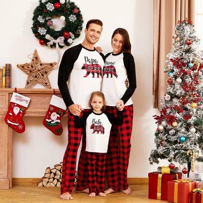 Áo thun gia đình Mùa thu năm 2020 cha con phù hợp với trang phục giáng sinh gấu in trang phục pajama