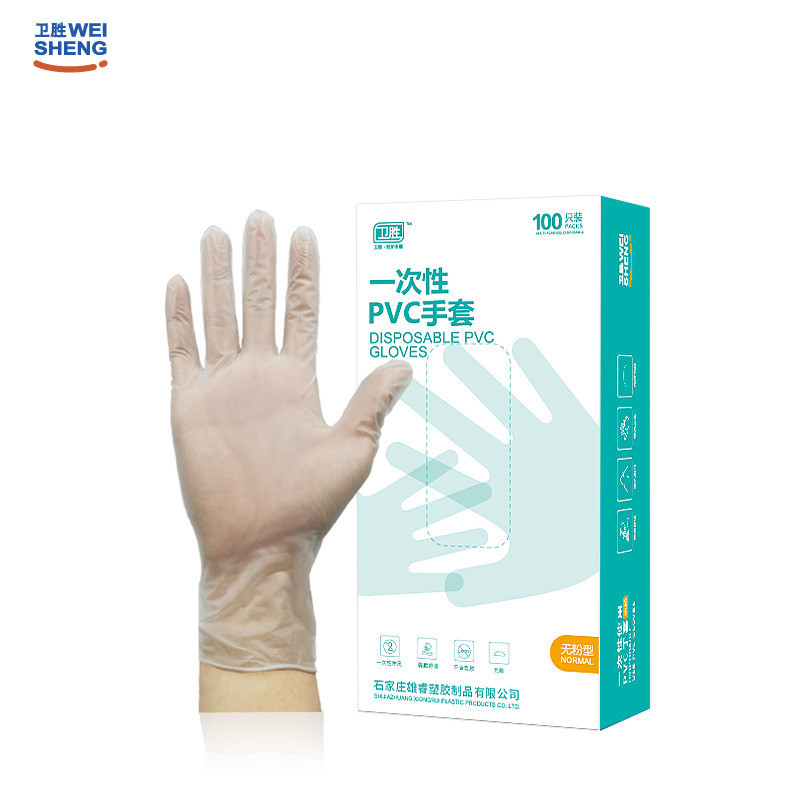 WEISHENG Disposable transparent PVC gloves export cross border protective gloves