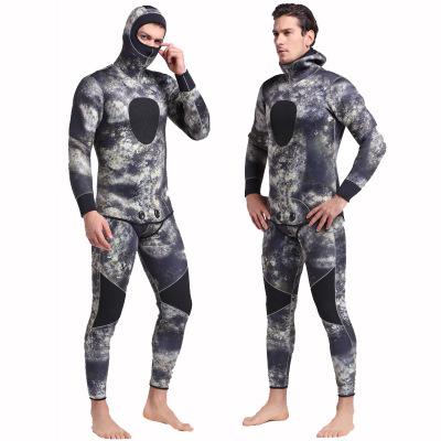 Sbart Áo nguỵ trang lính Bộ đồ lặn 5MM ngụy trang ấm áp xuyên biên giới dài tay áo tắm một mảnh hai
