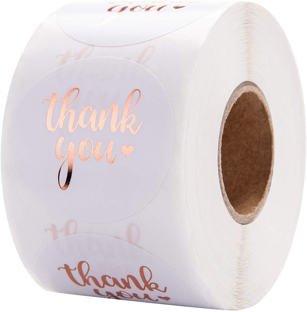 500 / roll 3.8cm roll gold stamping thank you for purchasing commercial decoration sticker label